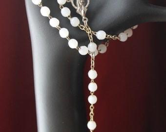 Vintage White Virgin Mary Rosary #336