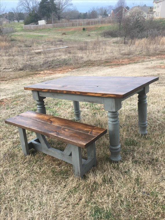 Farmhouse Table Rustic Turned Leg By Boardmancowoodworks On Etsy
