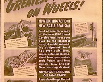 1941 Lionel Model Train Toy Ad Matted Vintage Print