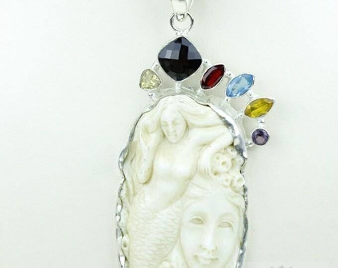 Mermaid Coral Reef DEER ANTLER TOTEM Goddess Face Moon Face Bone Carving 925 S0LID Sterling Silver Pendant + 4MM Chain p3838