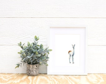 Llama Watercolor Print- Baby Animal Painting - llama Painting - Farm Animal Painting - Baby Llama Painting - Llama - Baby Room - Baby