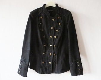 Womens Black Marching Band Jacket Military Style Short Black Trenchcoat Buttons Closure Hussar Style MJ Michael Jackson Blazer Large Size