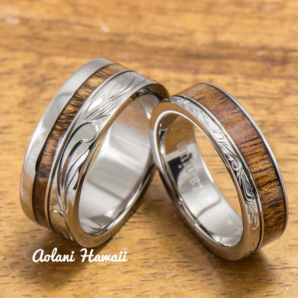 Titanium wedding ring set with hawaiian koa wood by for Hawaiian wedding ring sets