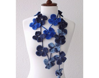 Crochet Flower Scarf, Royal Blue, Navy Blue, Crochet Lariat Scarf