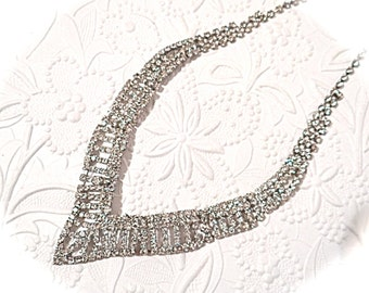 Rhinestone Necklace Vintage Rhinestones Jewelry Collar VA-119