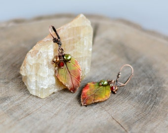 Autumn leaf earrings dangle Fall leaves jewelry Woodland earrings Fall wedding jewelry Gift for women Casual earrings boho Gift for her
