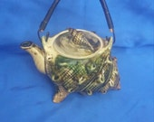 Victorian Shell shaped Tea Pot with Metal Wire Handle .