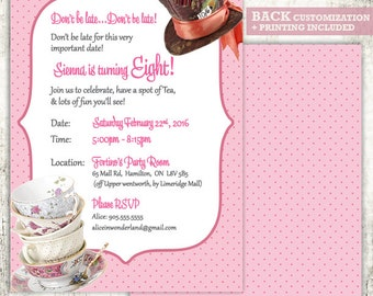 MAD HATTER Invitation // Birthday Party Invite // Tea Party // Wonderland Birthday Party // PRINTED Invites