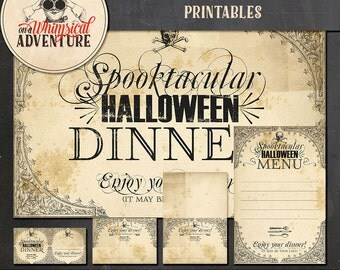 Halloween dinner party digital download, dinner printables, party printables, menu, placecard, straw flag, placemat, vintage Halloween party