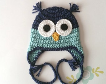Blue Owl Hat - Baby to Adult Sizes Available - Baby Boy Owl Hat - Crochet Owl Hat - Woodland Animal Hat - Earflap Hat - Winter Owl Hat