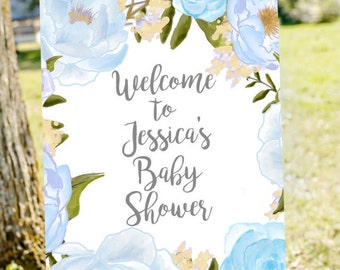 Baby Boy Shower Welcome Sign, Welcome To Baby Shower Sign, Blue Baby Shower,