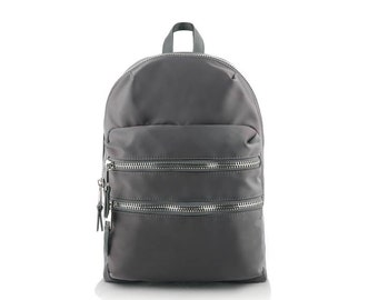 Double Zipper Line Nylon Backpack (Gray)