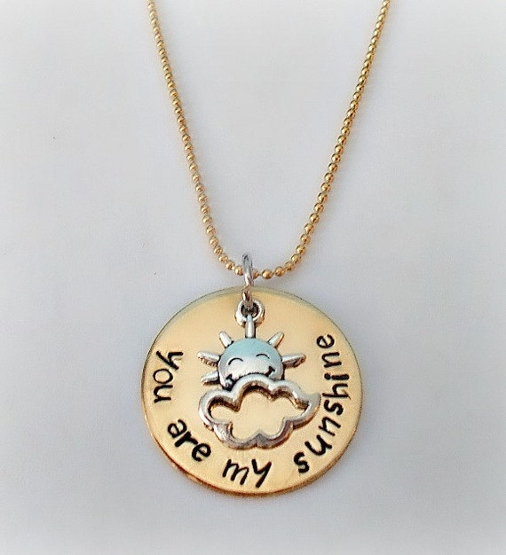 Hand stamped you are my sunshine necklace you make me happy for How do you make hand stamped jewelry