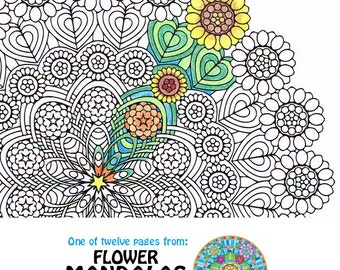 Mandala Coloring Page - Sunflower Weave - instant download art to print and color