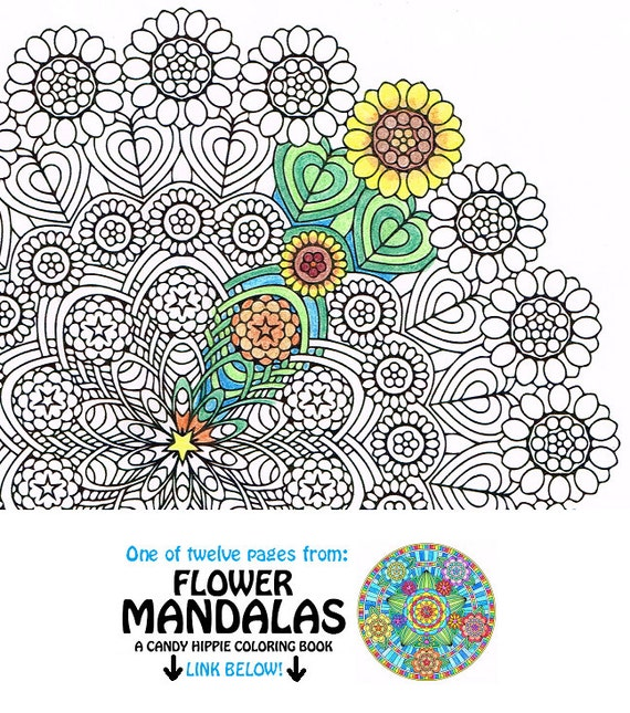 Mandala Coloring Page Sunflower Weave Instant Download Art
