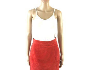 Coral Suede Mini Skirt, size Small