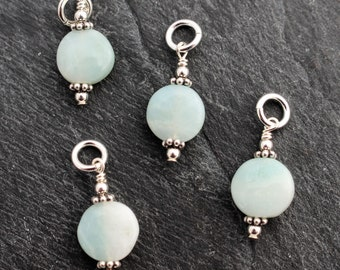 Light Amazonite Coin Charms, Dangles. Set of 2 or 3. Earring Components. Sterling Silver