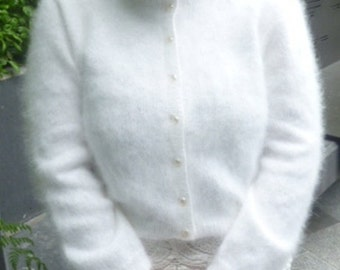 Bridal 100% Angora Cardigan in Ivory / Off-White with pearl buttons cropped waist 3/4 sleeves, longer lengths & round or v-neck available
