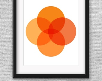 Orange Printable Art, Modern Art, Minimalist Art, Printable Poster, Printable Wall Art, Geometric Art, Circle Art, Orange Art
