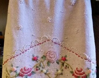 Pink Embellished Skirt, Easter Skirt, Girly Skirt, Beaded Skirt, Re-Purposed Sweater