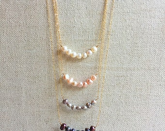 Gold Filled Fresh Water Pearl Bar Necklace