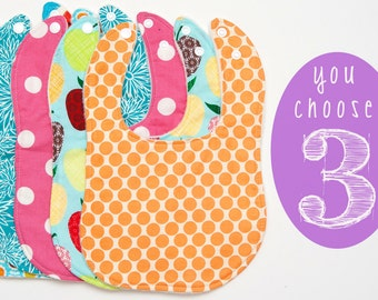 Baby Bibs - Set of 3 Custom Drooler bibs - newborn bibs - design your own bib set - boy/girl baby bibs