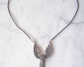 ANGEL WINGS NECKLACE.....on black rope with magnetic closure......24""