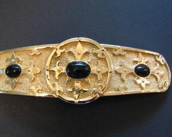 Vintage Buckle Accessocraft Belt Buckle Onyx Cabachons