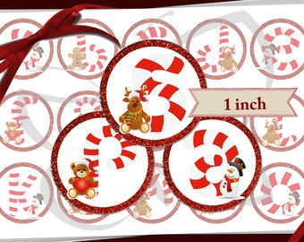 Candy Cane Alphabet bottle cap images Christmas digital collage 1 inch circle 600dpi high resolution lower case letters for that perfect bow