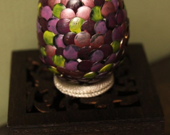 Handmade Dragon Egg with wooden filigree casket - Pink Red Purple Yellow - Game of Thrones - Harry Potter - Lord of the Rings