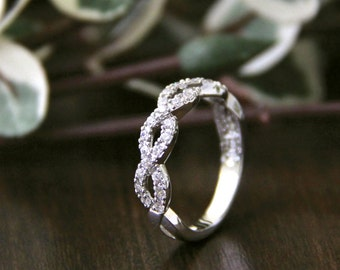 1/2 ct.tw Spiral Wedding Ring-Twisted Knot Half Eternity Crossover Band Ring-Anniversary Ring-Pave Set Stones-Solid Sterling Silver [0816]