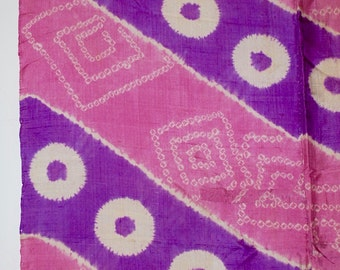 Playful Pink & Purple – Vintage Japanese Silk Scarf