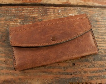 Women's Brown Leather Clutch Handbag Wallet - Amish Made to Order