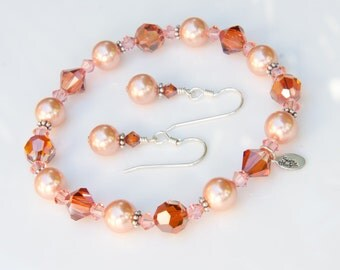 Burnt Orange Bridesmaid Gift Set Crystal Jewelry w/ Swarovski® Orange Crystal, Peach Pearl Set & Bali Sterling Silver Fall Autumn Wedding