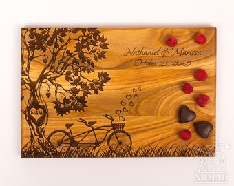 Personalized Cutting Board Wedding Gift Custom Wedding Gift For Couple Tandem Bike Engraved cutting board Engagement gift Anniversary gift