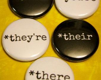"Grammar Set of 5 - 1"" Pin Back or Magnet Back Buttons"