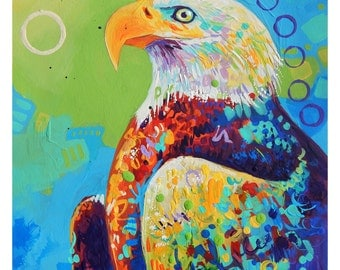 """Bald Eagle - Original colorful traditional acrylic painting on paper 8.5""""x11"""""""