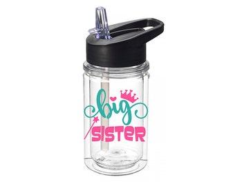Big Sister Gifts - Children Personalized Water Bottle - Tritan Water Bottle - Girls Birthday Gifts - Girl Gifts - Kids Personalized Gifts