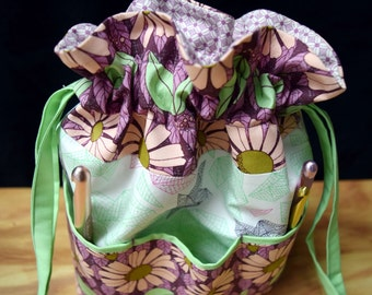 Pink Daisies Oragami Lavender, Pinks, Mint Greens Knitting/Crochet Drawstring/Six Pockets~ Craft, Baby, Makeup Organizer!