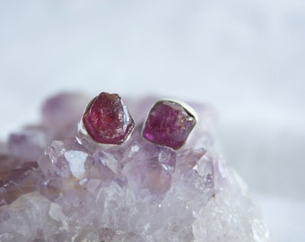 Raw Ruby Studs in Sterling Silver
