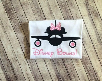 Disney Bound Minnie Mouse Vacation Onesie/Shirt - 0-24 months - 2T-12 Girls - disney vacation shirt, minnie mouse shirt, airplane shirt