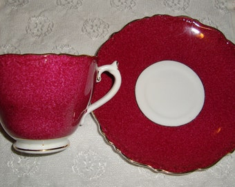 Coalport - Bone China Made in England - Vintage Tea Cup and Saucer - Rasberry Red on White with Gold Trim