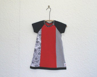 Girl's Dress,Recycled T Shirt Dress, Kid's Size 5 Tshirt Dress, Upcycled Tshirt Dress, Repurposed T Shirt Dress, Raglan Sleeve Child's Dress