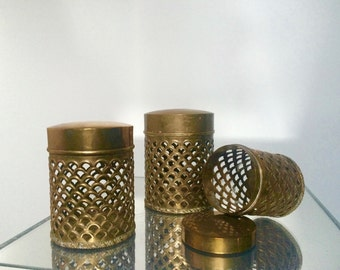 Vintage Brass Nesting Canisters / Lidded Canisters / Mid Century Modern 1950s / Set of Three 3