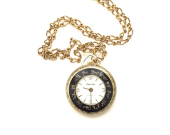 Vintage Lucerne Pendant Watch with Signs of the Zodiac Black Enamel and Gold Rims