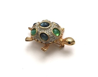 Gold Plated Turtle Brooch with Pave Set Clear Rhinestones and Blue Green Jelly Embellishments, Statement Brooch,Animal Jewelry