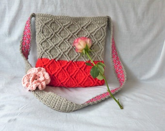 Crochet pattern cable diamond bag (English US terms and Dutch)