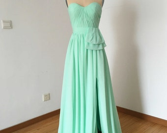 Sweetheart Mint Chiffon Long Bridesmaid Dress with Front Slit