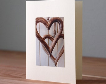 Handmade Hanging Wooden Hearts Photo Card