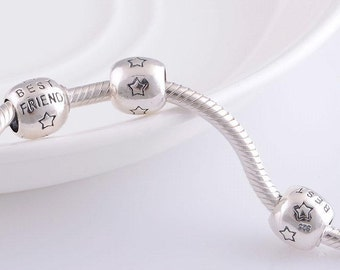 silver charm sterling silver charms beads fits authentic Pandora and European charm bracelets best friend charm